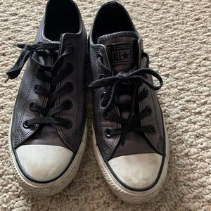 Converse Leather Sneakers - Black metallic, Sz 5.5
